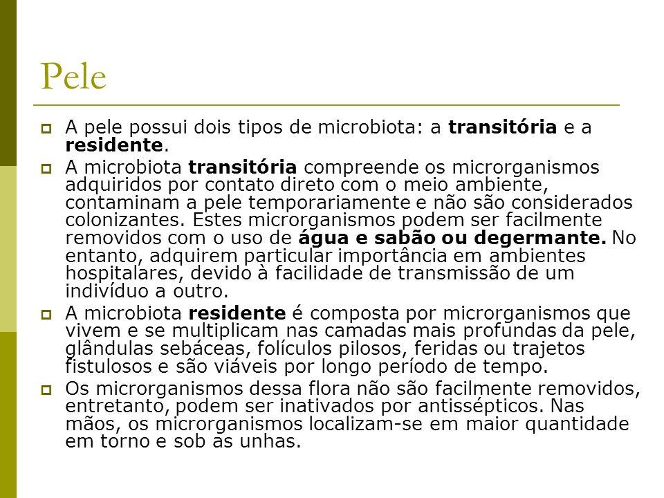 Pele A pele possui dois tipos de microbiota: a transitória e a residente.