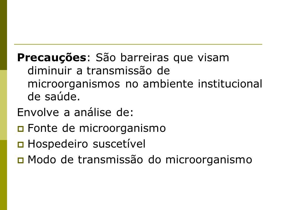 Precauções: São barreiras que visam diminuir a transmissão de microorganismos no ambiente institucional de saúde.