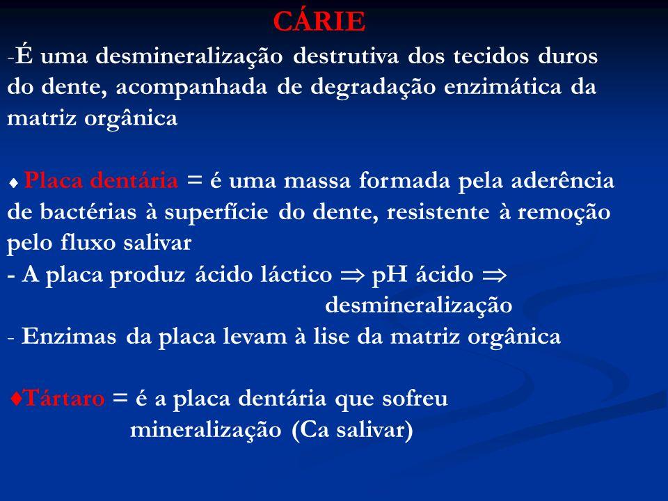 CÁRIE É uma desmineralização destrutiva dos tecidos duros do dente, acompanhada de degradação enzimática da matriz orgânica.