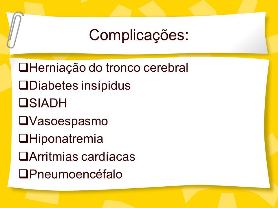 Complicações: Herniação do tronco cerebral Diabetes insípidus SIADH