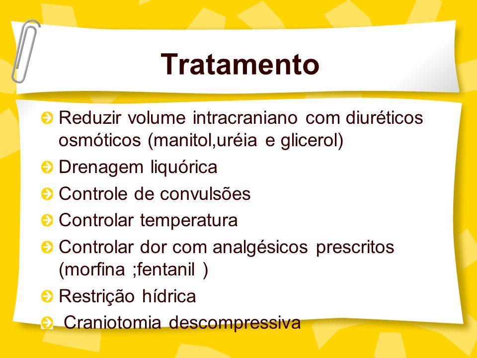 Tratamento Reduzir volume intracraniano com diuréticos osmóticos (manitol,uréia e glicerol) Drenagem liquórica.