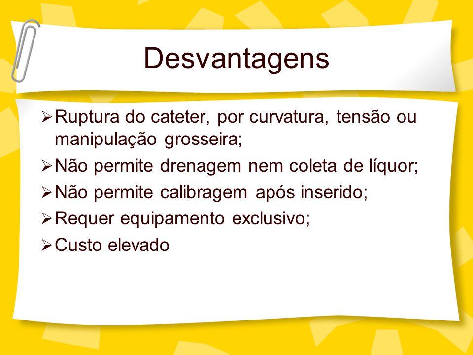 Desvantagens Ruptura do cateter, por curvatura, tensão ou manipulação grosseira; Não permite drenagem nem coleta de líquor;
