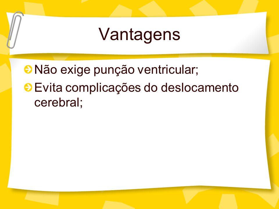 Vantagens Não exige punção ventricular;