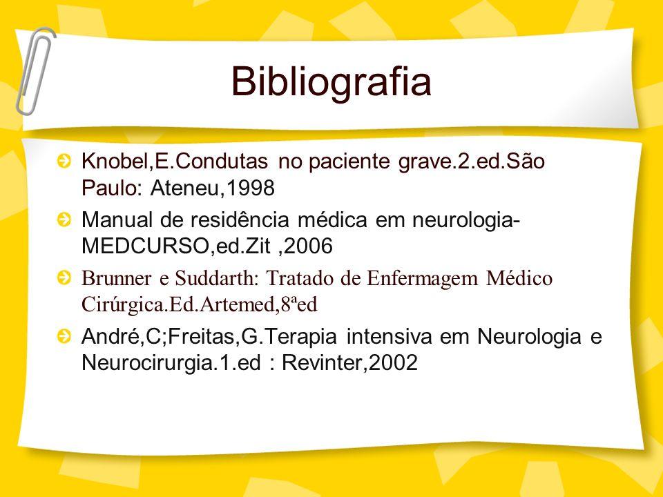 Bibliografia Knobel,E.Condutas no paciente grave.2.ed.São Paulo: Ateneu,1998. Manual de residência médica em neurologia-MEDCURSO,ed.Zit ,2006.
