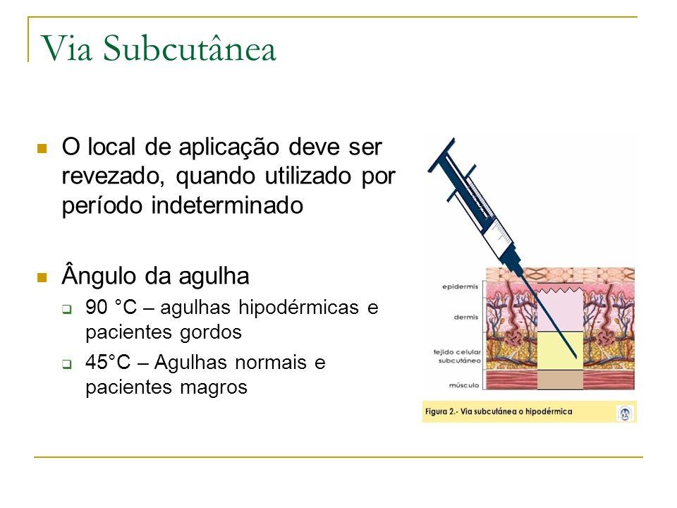 Via SubcutâneaO local de aplicação deve ser revezado, quando utilizado por período indeterminado. Ângulo da agulha.