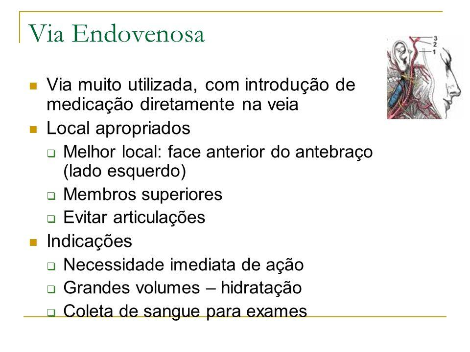 Via Endovenosa Via muito utilizada, com introdução de medicação diretamente na veia. Local apropriados.