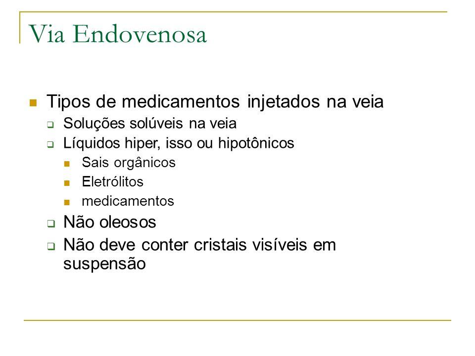 Via Endovenosa Tipos de medicamentos injetados na veia Não oleosos