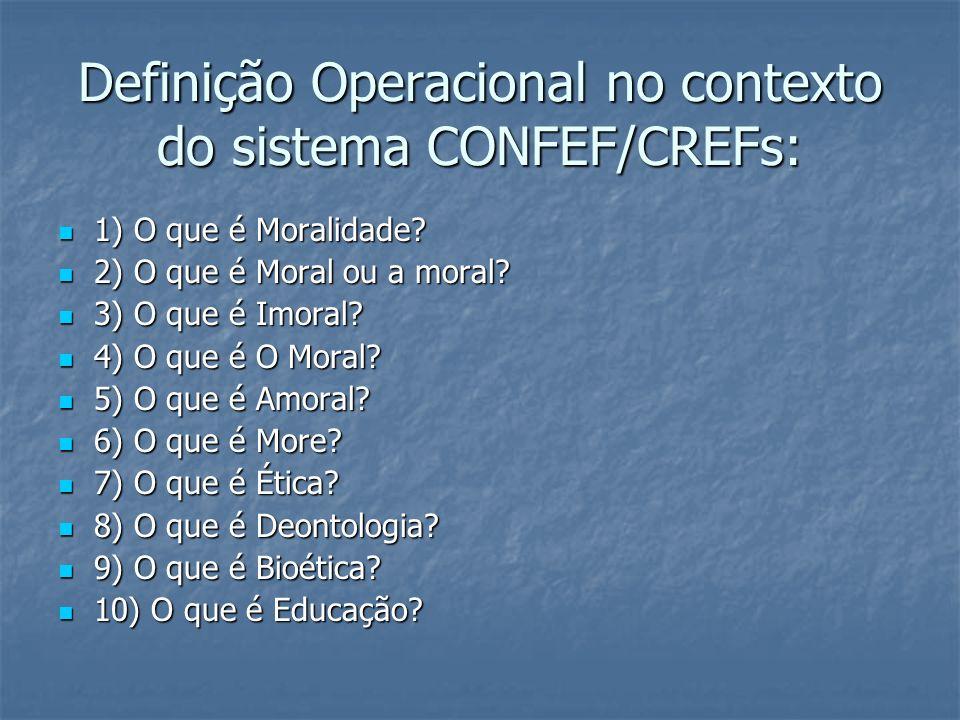 Definição Operacional no contexto do sistema CONFEF/CREFs: