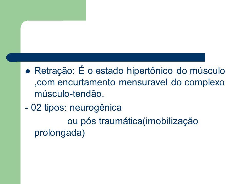 Retração: É o estado hipertônico do músculo ,com encurtamento mensuravel do complexo músculo-tendão.
