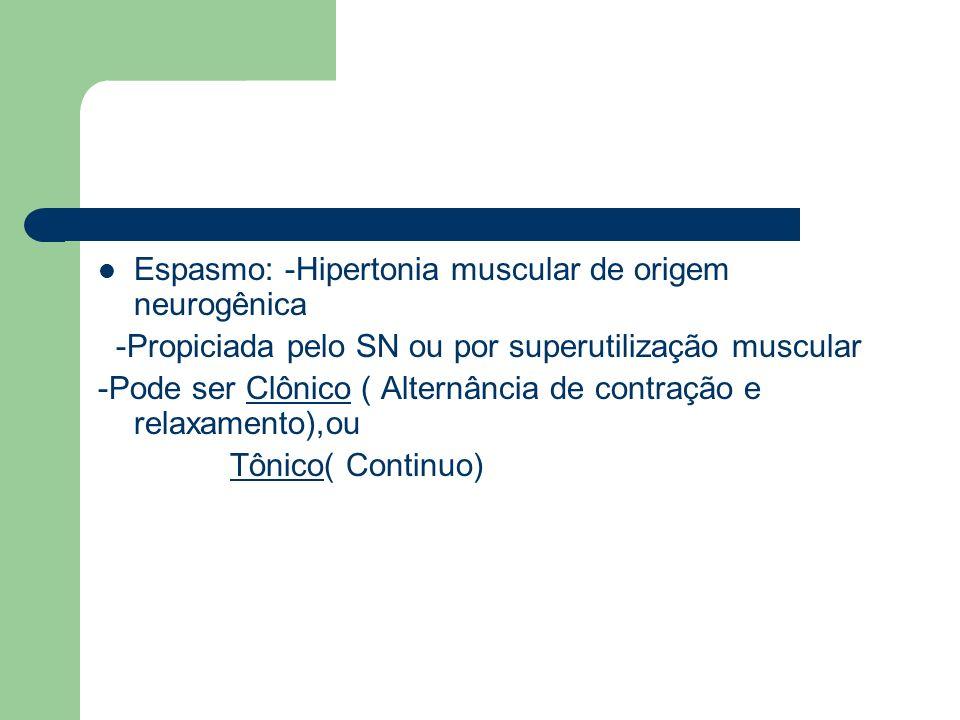 Espasmo: -Hipertonia muscular de origem neurogênica