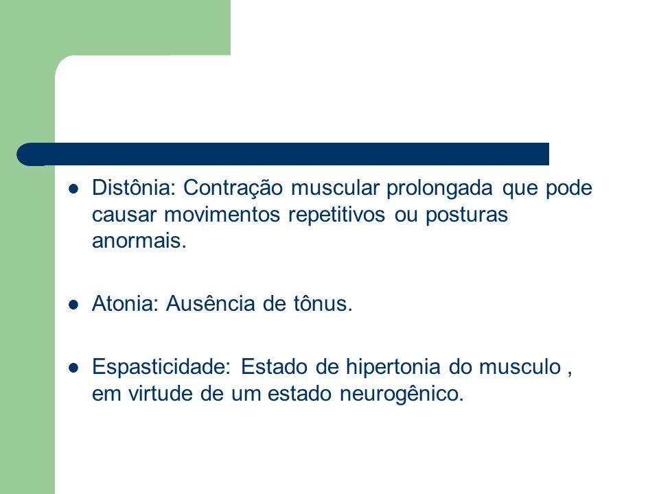 Distônia: Contração muscular prolongada que pode causar movimentos repetitivos ou posturas anormais.