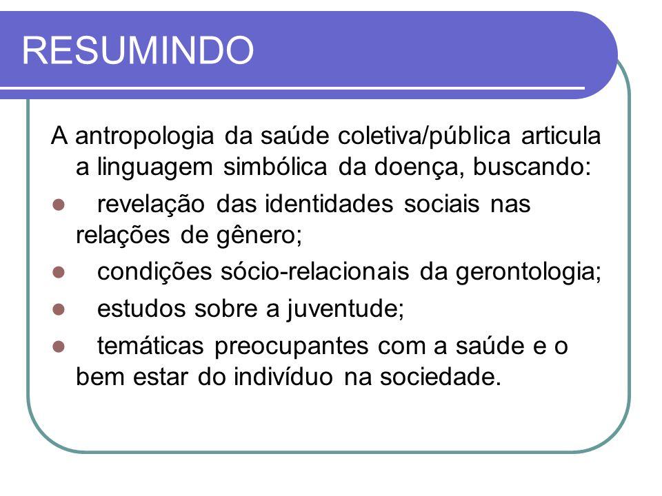 RESUMINDO A antropologia da saúde coletiva/pública articula a linguagem simbólica da doença, buscando: