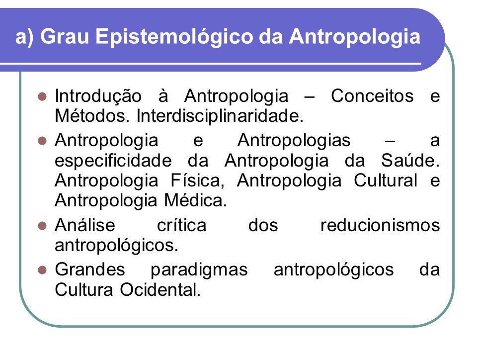 a) Grau Epistemológico da Antropologia
