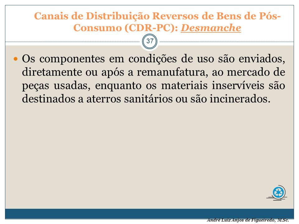 Canais de Distribuição Reversos de Bens de Pós-Consumo (CDR-PC): Desmanche