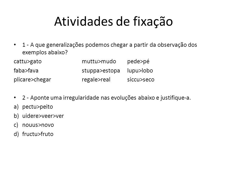 Atividades de fixação 1 - A que generalizações podemos chegar a partir da observação dos exemplos abaixo