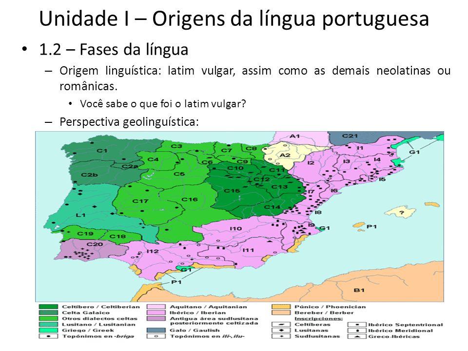 Unidade I – Origens da língua portuguesa