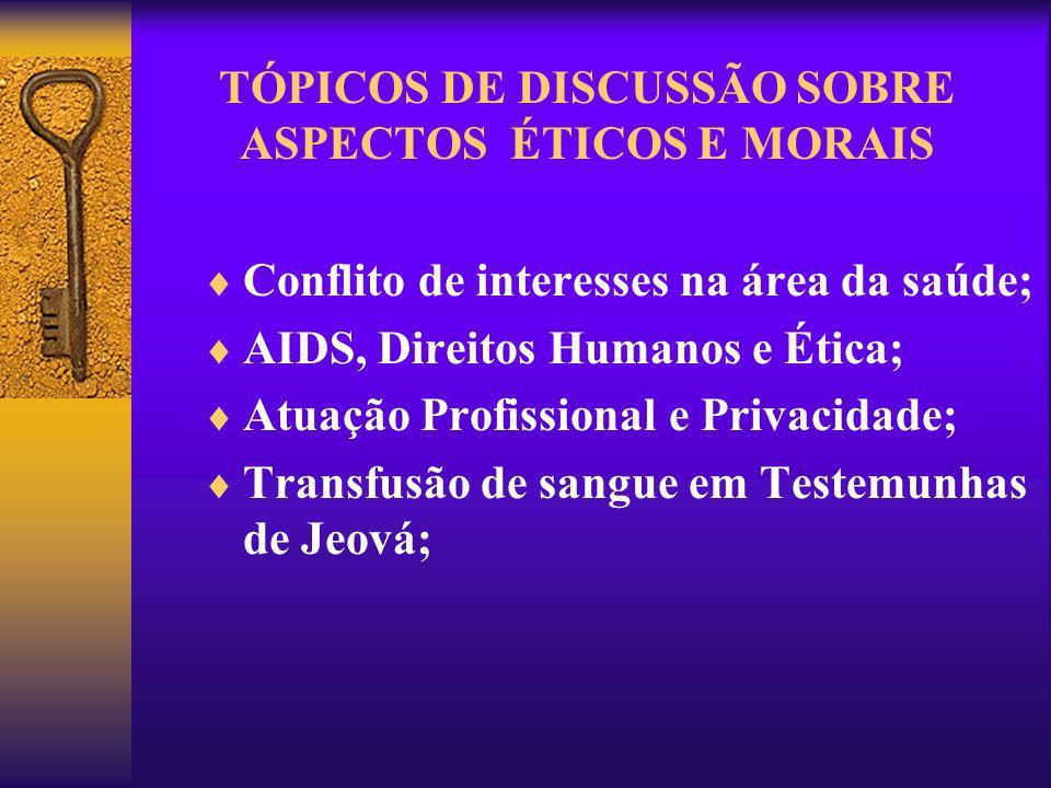 TÓPICOS DE DISCUSSÃO SOBRE ASPECTOS ÉTICOS E MORAIS