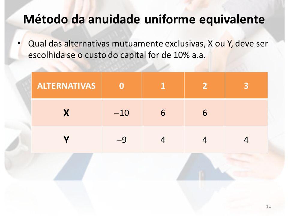 Método da anuidade uniforme equivalente