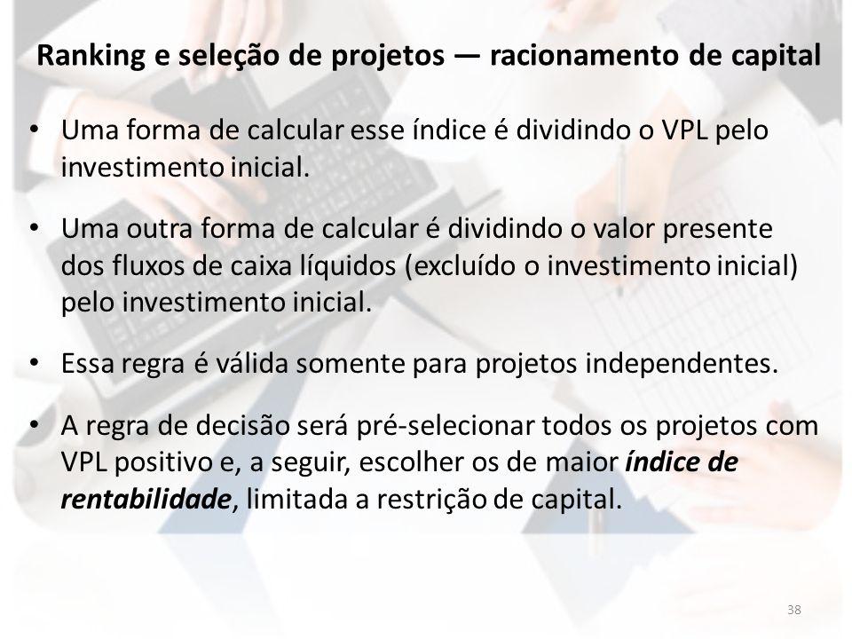 Ranking e seleção de projetos — racionamento de capital