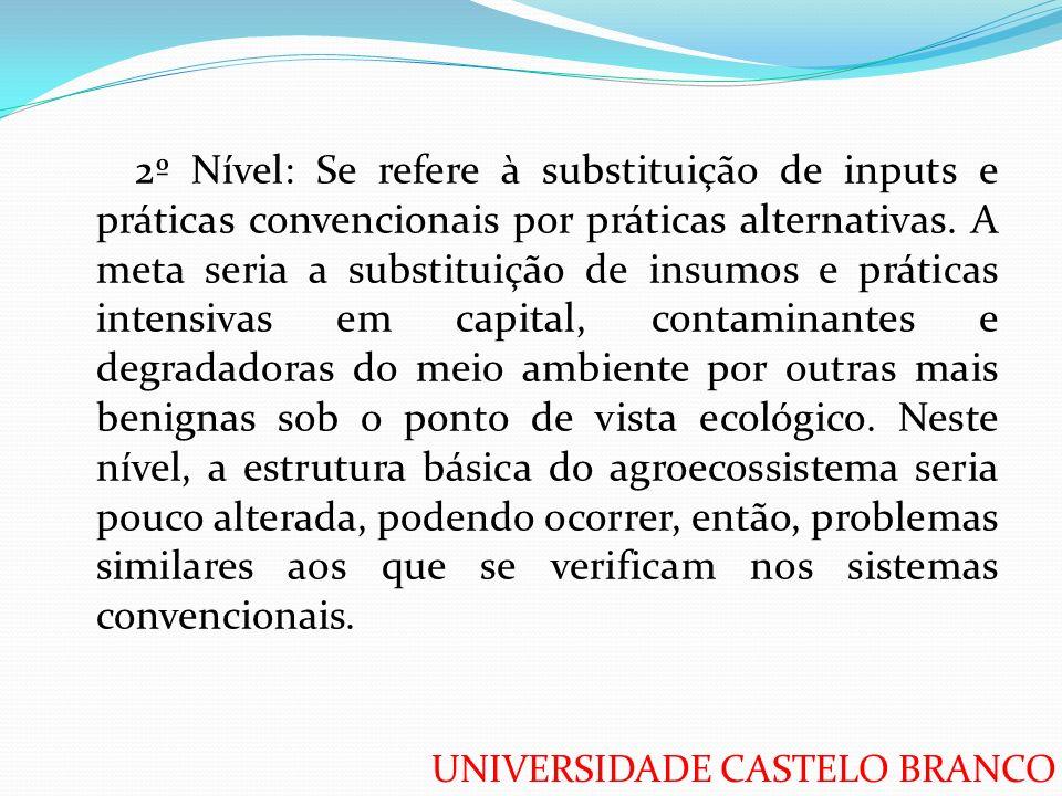 2º Nível: Se refere à substituição de inputs e práticas convencionais por práticas alternativas.