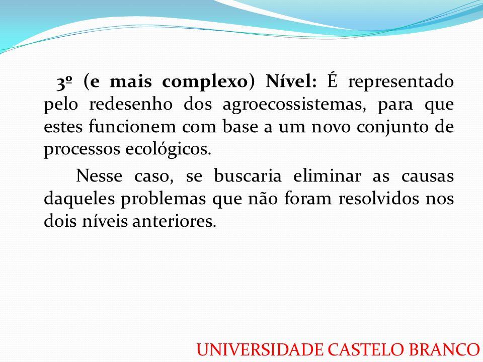 3º (e mais complexo) Nível: É representado pelo redesenho dos agroecossistemas, para que estes funcionem com base a um novo conjunto de processos ecológicos.