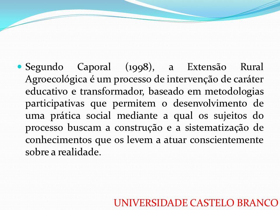 Segundo Caporal (1998), a Extensão Rural Agroecológica é um processo de intervenção de caráter educativo e transformador, baseado em metodologias participativas que permitem o desenvolvimento de uma prática social mediante a qual os sujeitos do processo buscam a construção e a sistematização de conhecimentos que os levem a atuar conscientemente sobre a realidade.