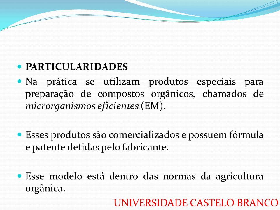 PARTICULARIDADES Na prática se utilizam produtos especiais para preparação de compostos orgânicos, chamados de microrganismos eficientes (EM).