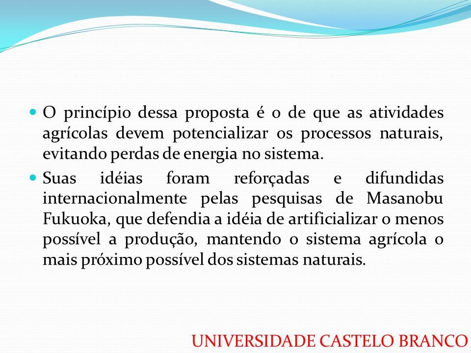 O princípio dessa proposta é o de que as atividades agrícolas devem potencializar os processos naturais, evitando perdas de energia no sistema.