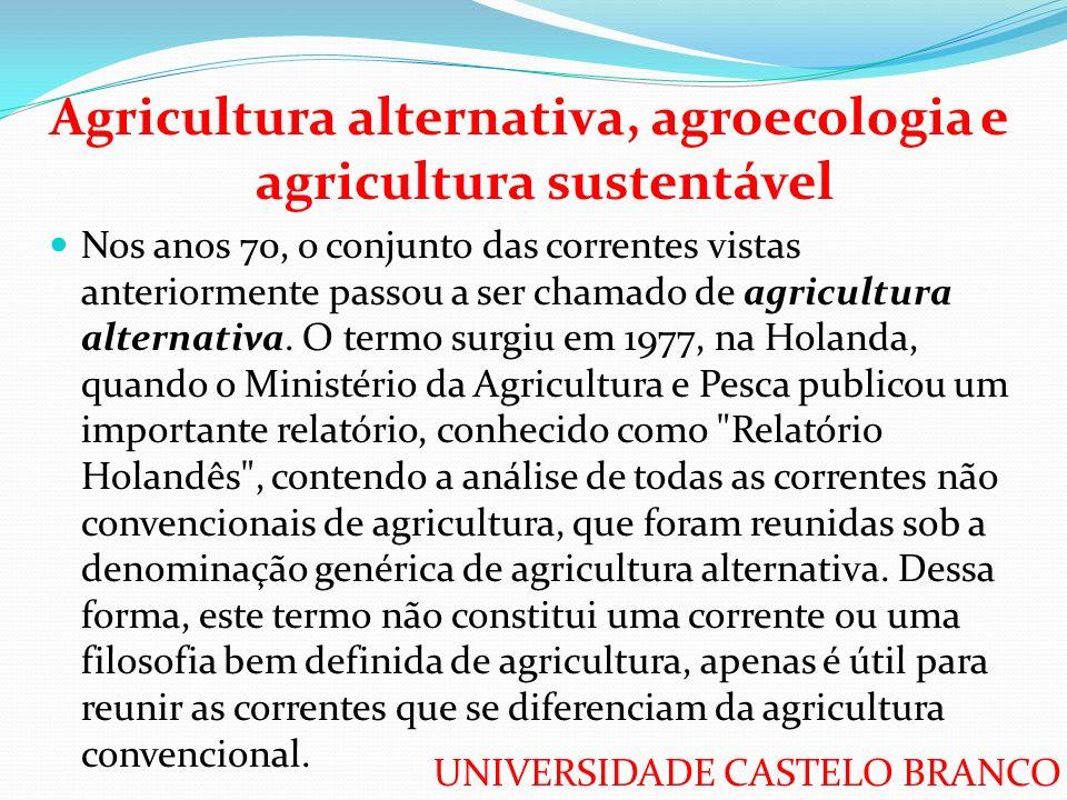 Agricultura alternativa, agroecologia e agricultura sustentável