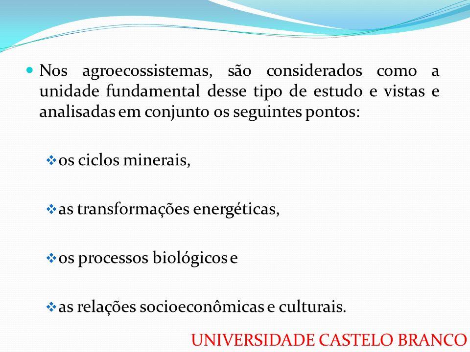 Nos agroecossistemas, são considerados como a unidade fundamental desse tipo de estudo e vistas e analisadas em conjunto os seguintes pontos: