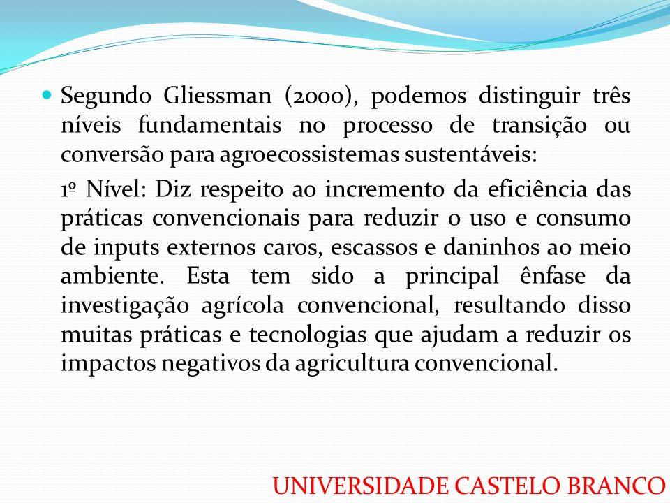 Segundo Gliessman (2000), podemos distinguir três níveis fundamentais no processo de transição ou conversão para agroecossistemas sustentáveis:
