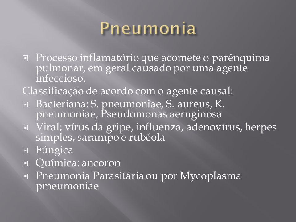 Pneumonia Processo inflamatório que acomete o parênquima pulmonar, em geral causado por uma agente infeccioso.