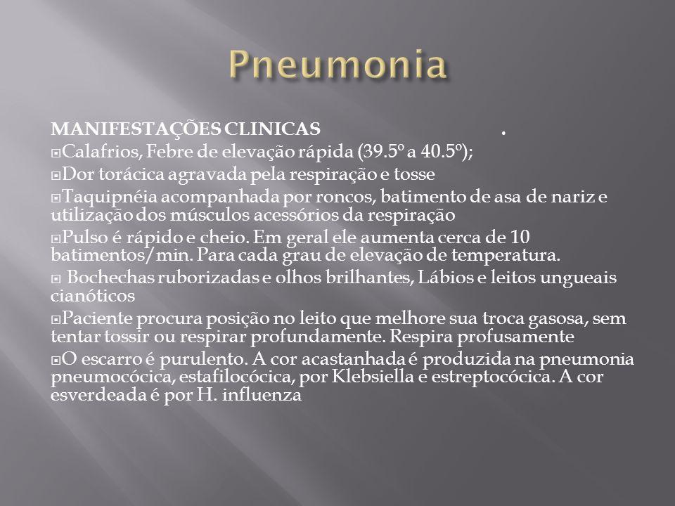 Pneumonia MANIFESTAÇÕES CLINICAS .
