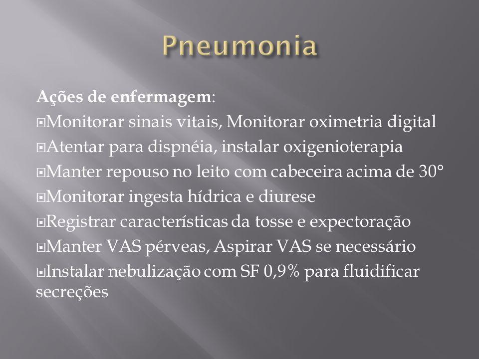 Pneumonia Ações de enfermagem: