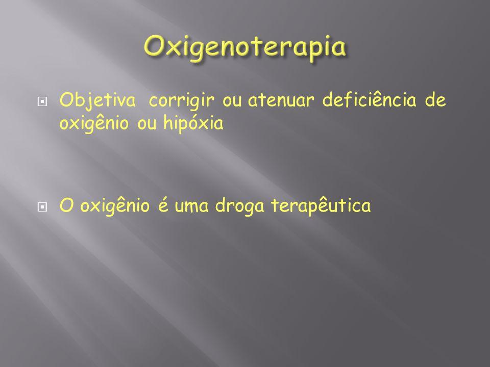 Oxigenoterapia Objetiva corrigir ou atenuar deficiência de oxigênio ou hipóxia.