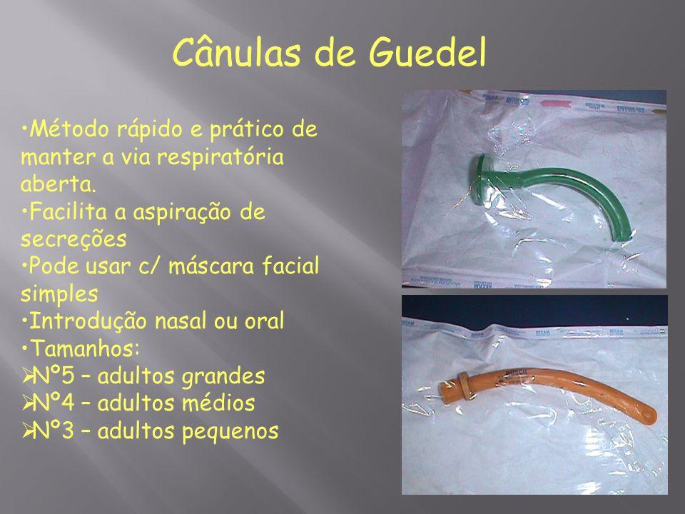 Cânulas de Guedel Método rápido e prático de manter a via respiratória aberta. Facilita a aspiração de secreções.