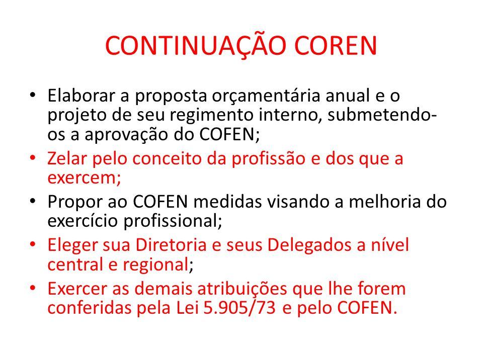CONTINUAÇÃO CORENElaborar a proposta orçamentária anual e o projeto de seu regimento interno, submetendo-os a aprovação do COFEN;