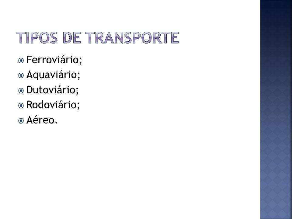 Tipos de transporte Ferroviário; Aquaviário; Dutoviário; Rodoviário;