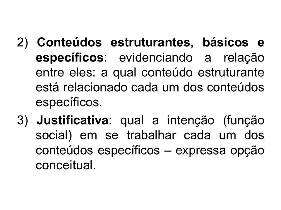 2) Conteúdos estruturantes, básicos e específicos: evidenciando a relação entre eles: a qual conteúdo estruturante está relacionado cada um dos conteúdos específicos.