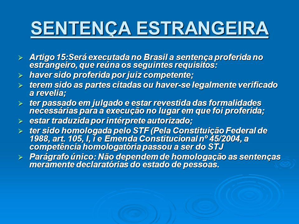 SENTENÇA ESTRANGEIRA Artigo 15:Será executada no Brasil a sentença proferida no estrangeiro, que reúna os seguintes requisitos: