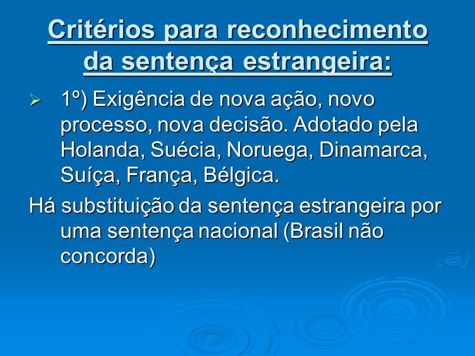 Critérios para reconhecimento da sentença estrangeira: