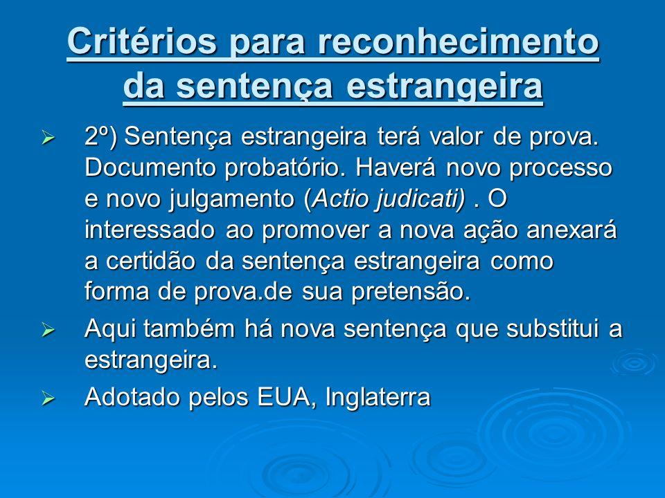 Critérios para reconhecimento da sentença estrangeira