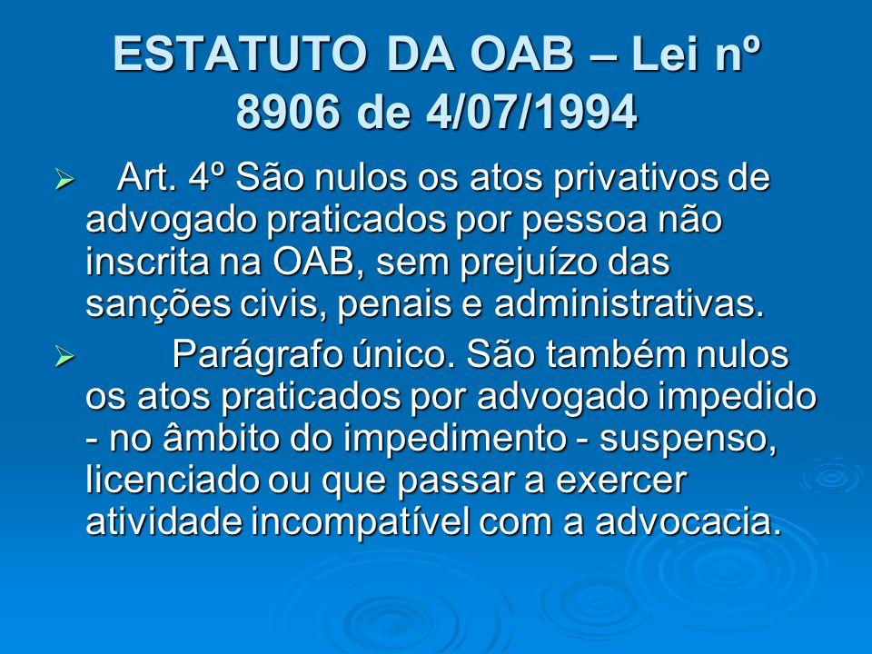 ESTATUTO DA OAB – Lei nº 8906 de 4/07/1994