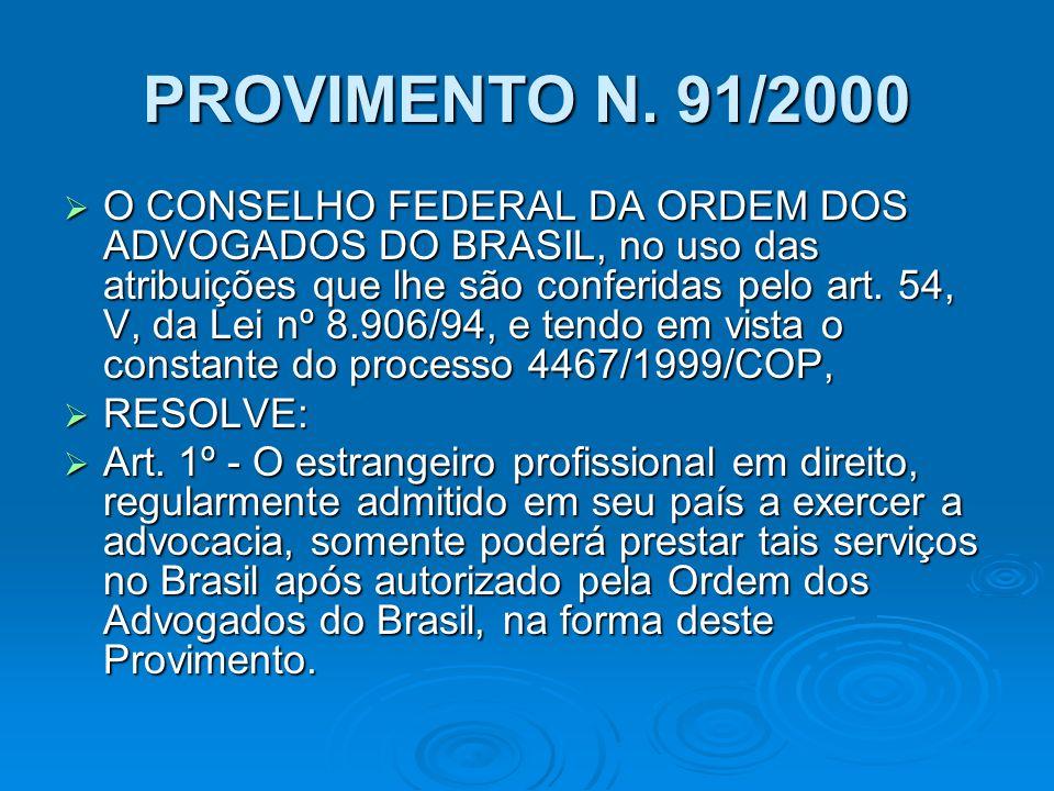 PROVIMENTO N. 91/2000