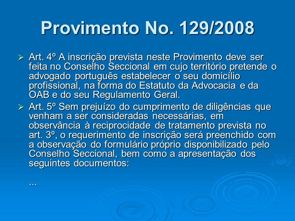 Provimento No. 129/2008