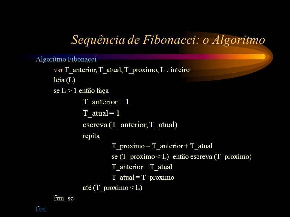 Sequência de Fibonacci: o Algoritmo