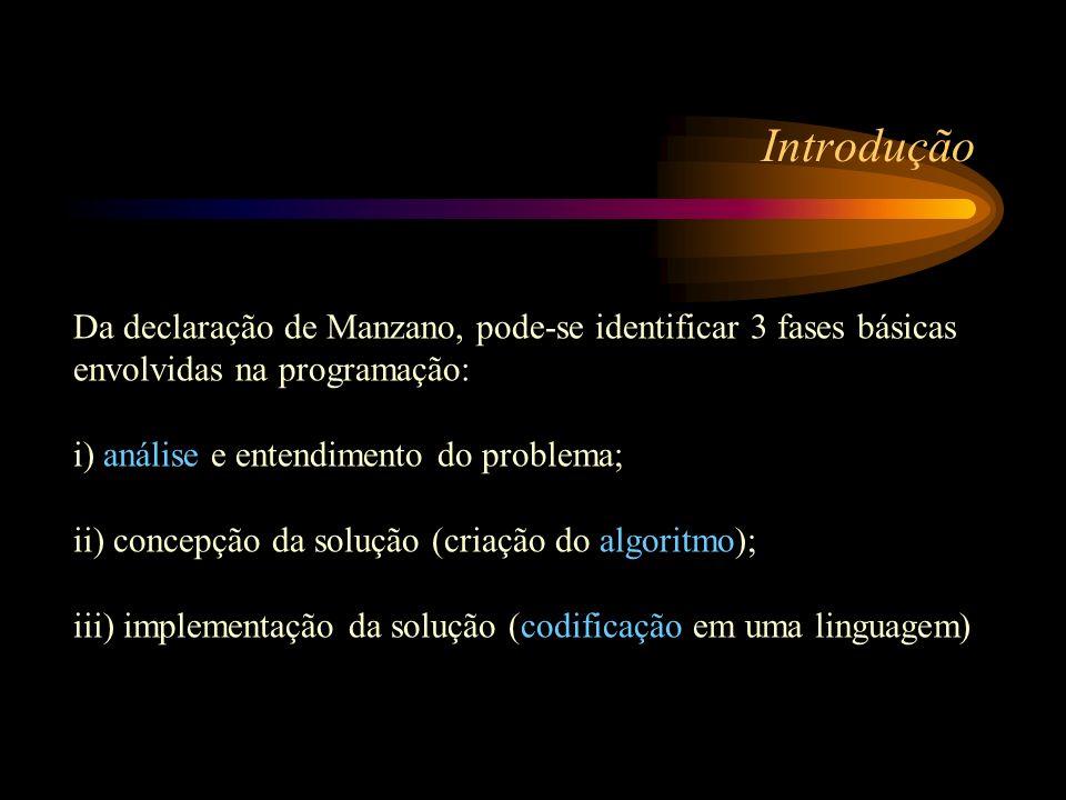 Introdução Da declaração de Manzano, pode-se identificar 3 fases básicas envolvidas na programação: