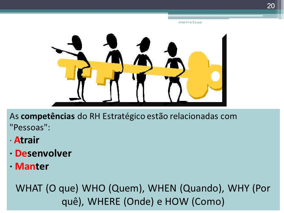 Albertina Sousa As competências do RH Estratégico estão relacionadas com Pessoas : · Atrair · Desenvolver · Manter.