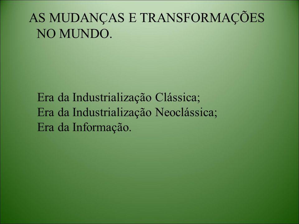 AS MUDANÇAS E TRANSFORMAÇÕES NO MUNDO.