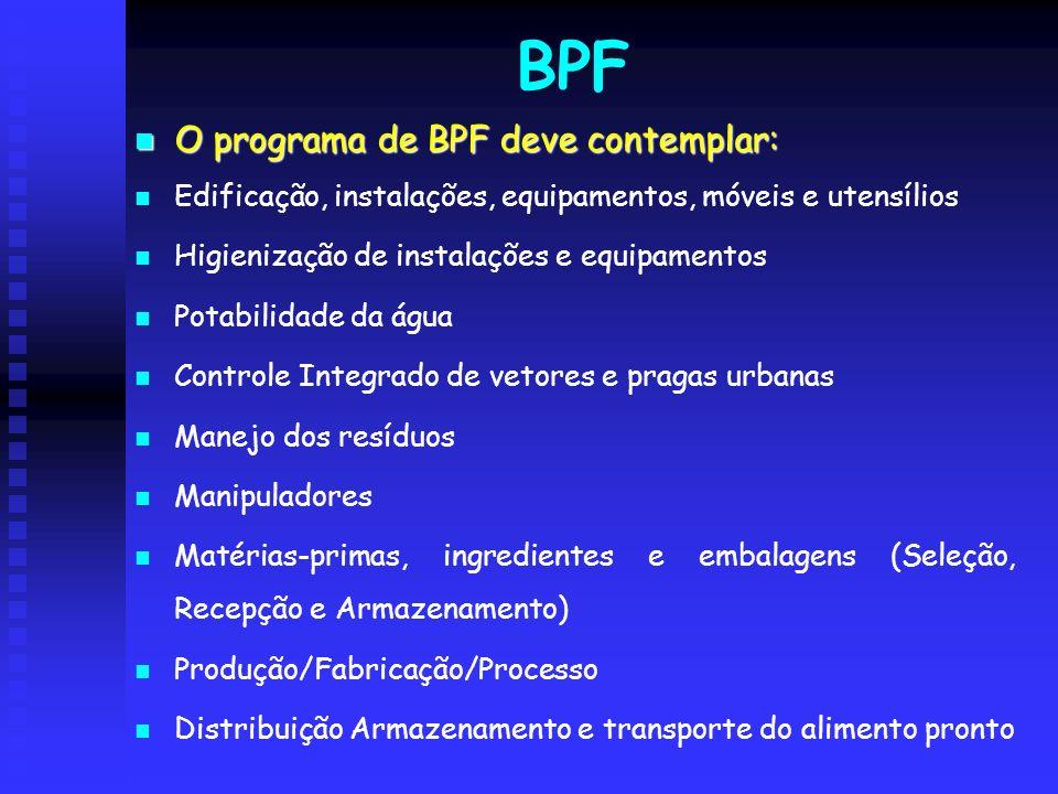 BPF O programa de BPF deve contemplar: